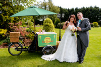 Bride and Groom pose in front of Ice cream truck at the Batch Country Lodge somerset
