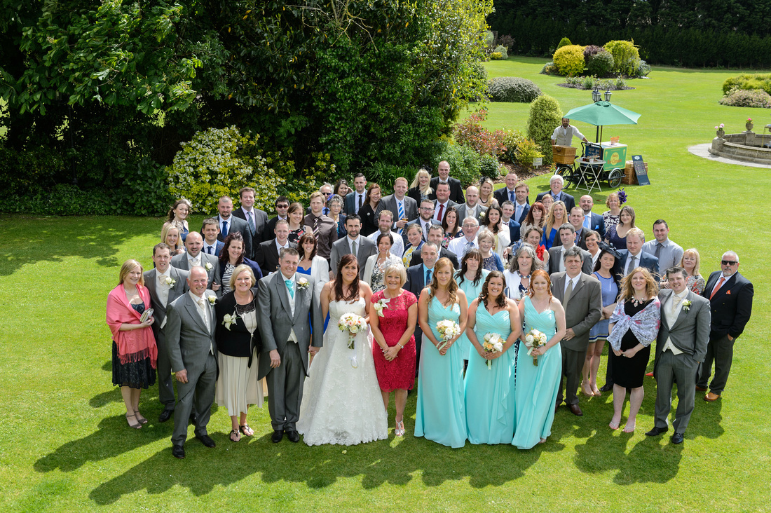 Wedding group photo at the Batch country house